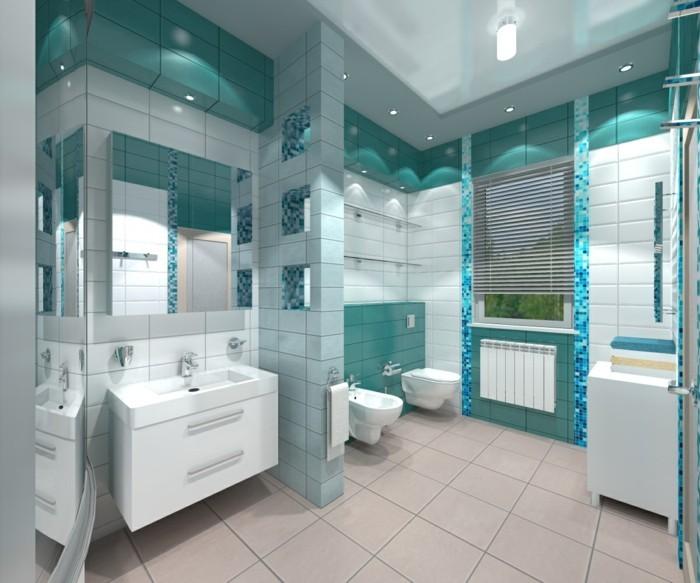 carrelage-douche-turquoise-et-blanc-miroir-fenetre-stores-lavabo-lampes