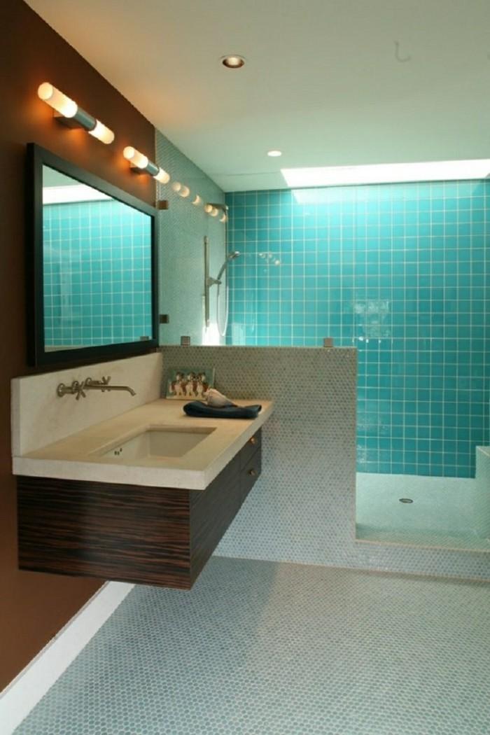carrelage douche turquoise lavabo armoire en bois mur - Salle De Bain Turquoise Et Bois