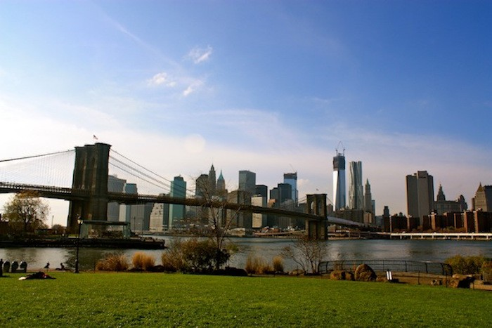 carte postale new york pont de brooklyn