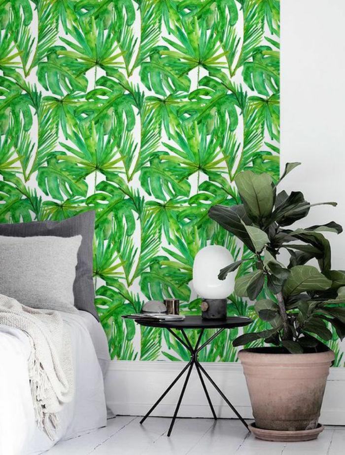 chambre-à-coucher-blanc-et-gris-papier-peint-jungle-vert