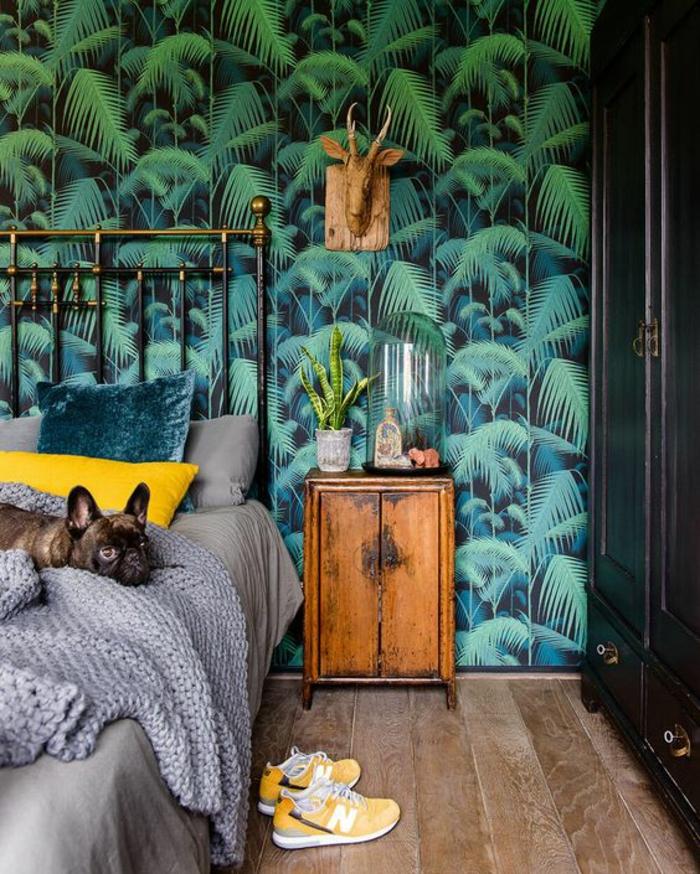 chambre-à-coucher-bohème-papier-peint-jungle-