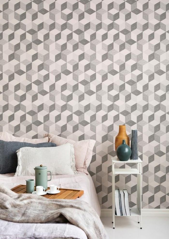 chambre-à-coucher-couleurs-pastel-papier-peint-3d-géométrique-