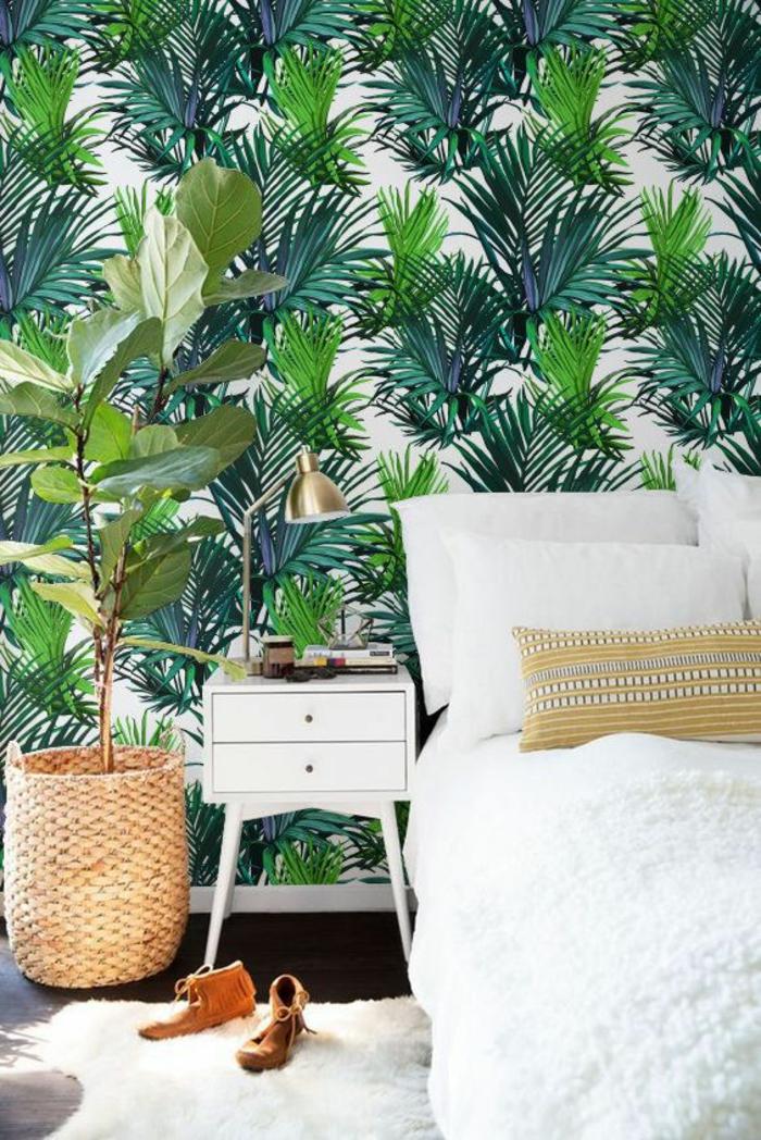 chambre-à-coucher-déco-tropicale-papier-peint-jungle