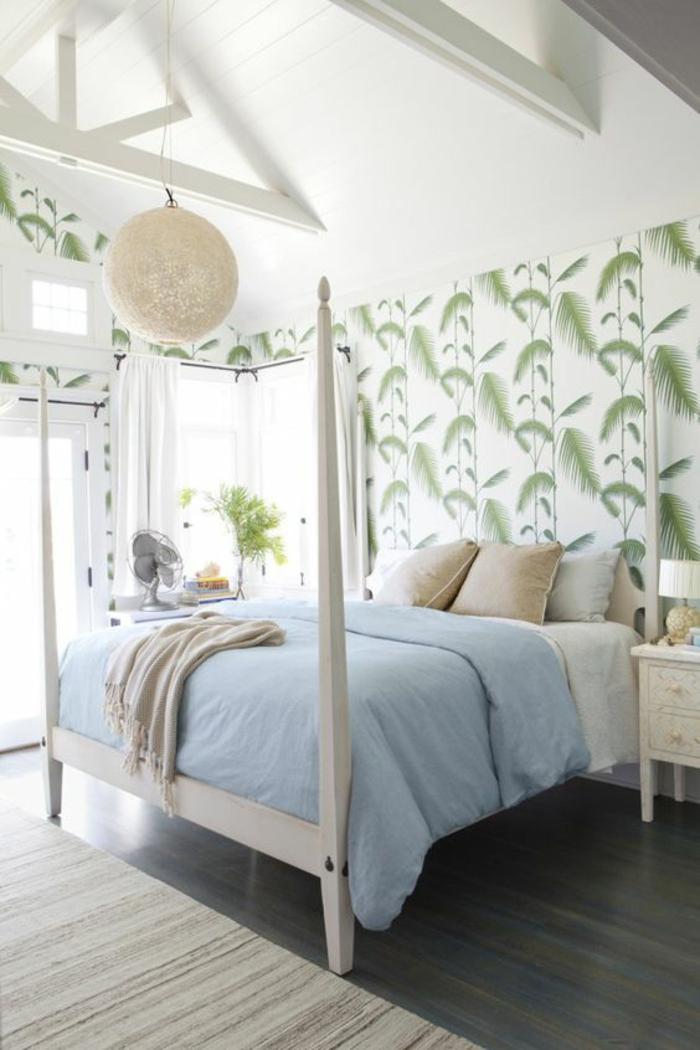 chambre-à-coucher-intérieur-tropical-papier-peint-feuille-palmier
