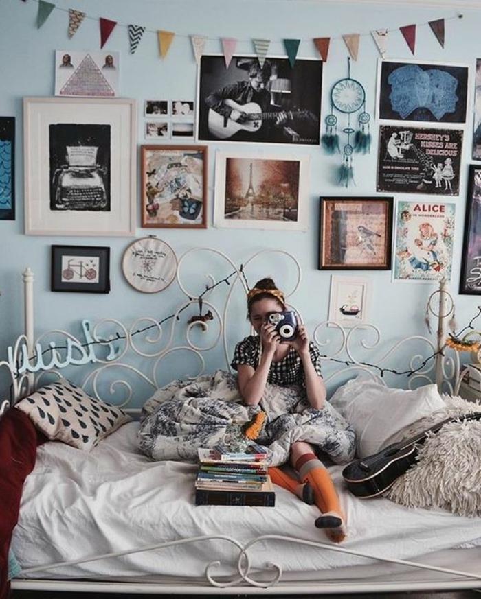 chambre-ado-fille-bohème-décoration-murale-de-photos