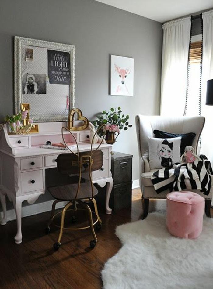 chambre-ado-fille-bureau-déco-vintage-tapis-blanc