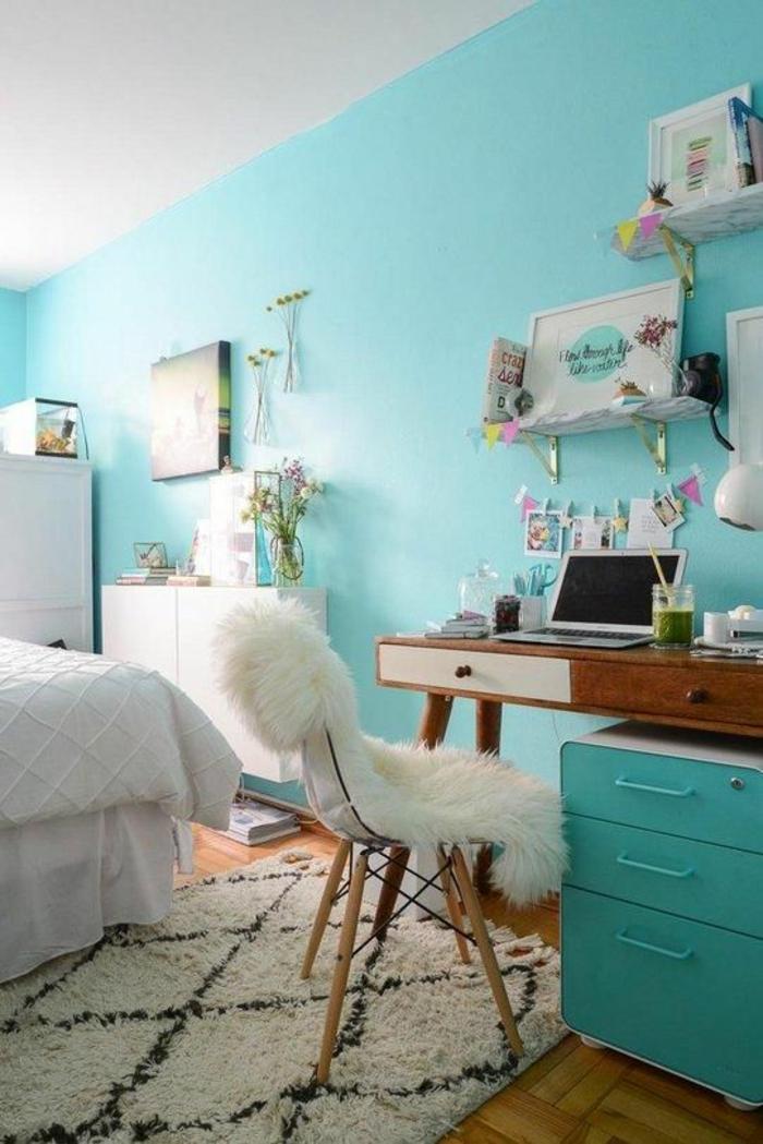 chambre-ado-scandinave-vintage-peinture-vert-menthe-à-l'eau
