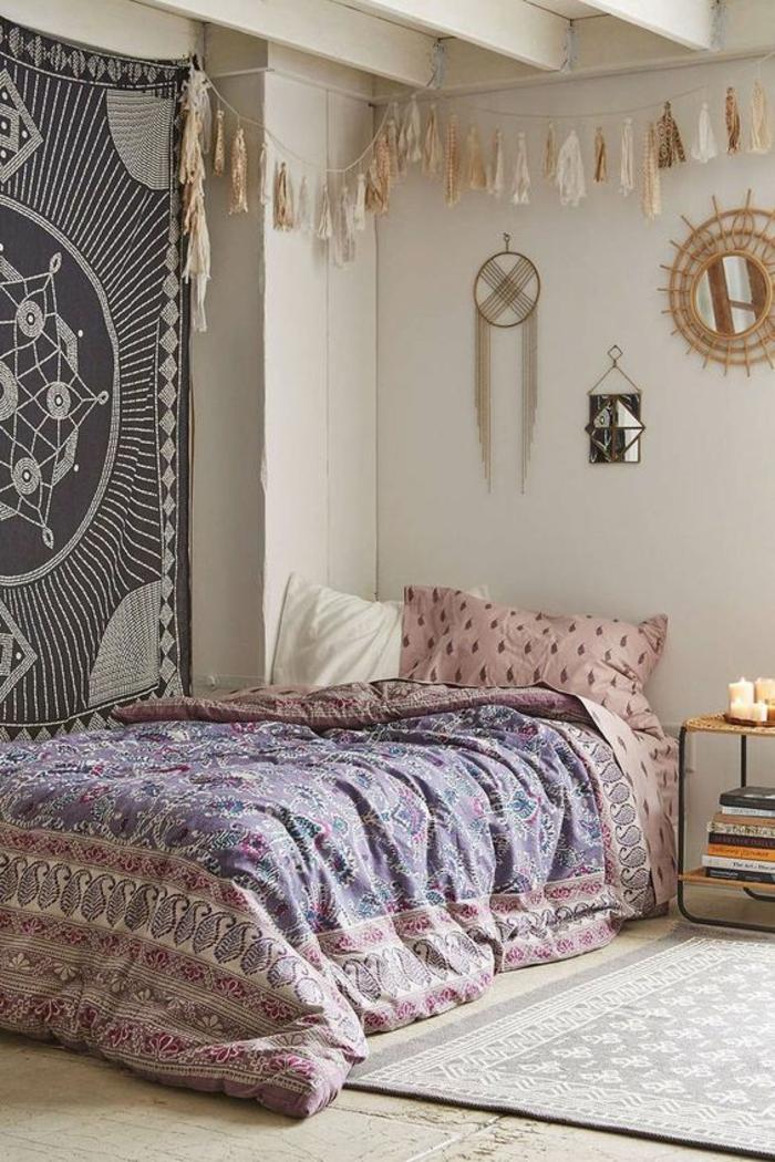 chambre-d'ado-bohème-tapis-mural-linge-de-lit-girly