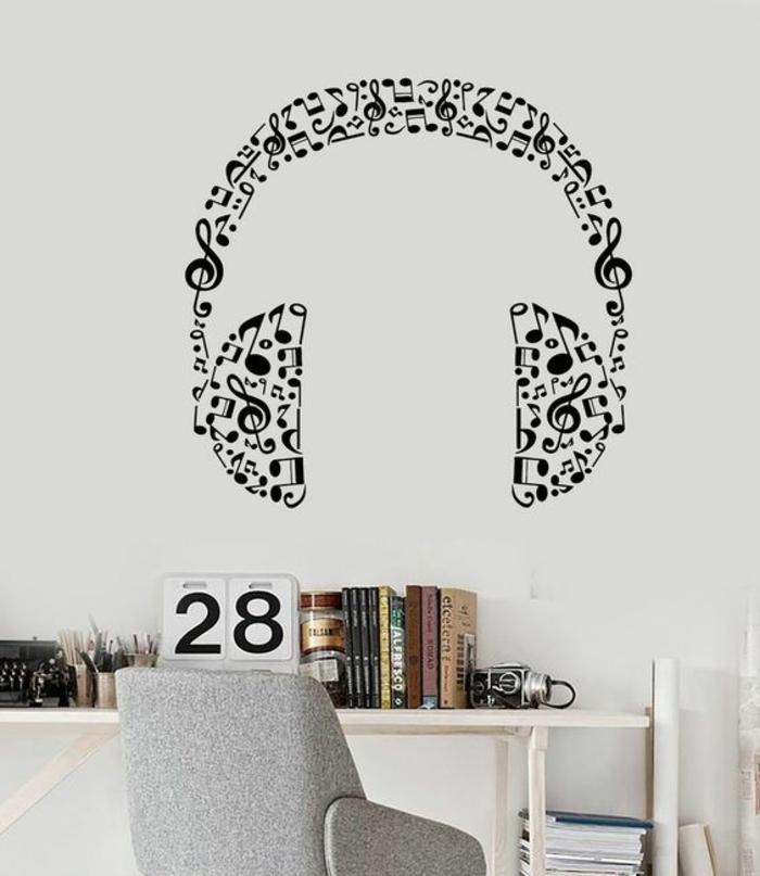 chambre-d'ado-créative-sticker-mural-écouteurs-espace-bureau