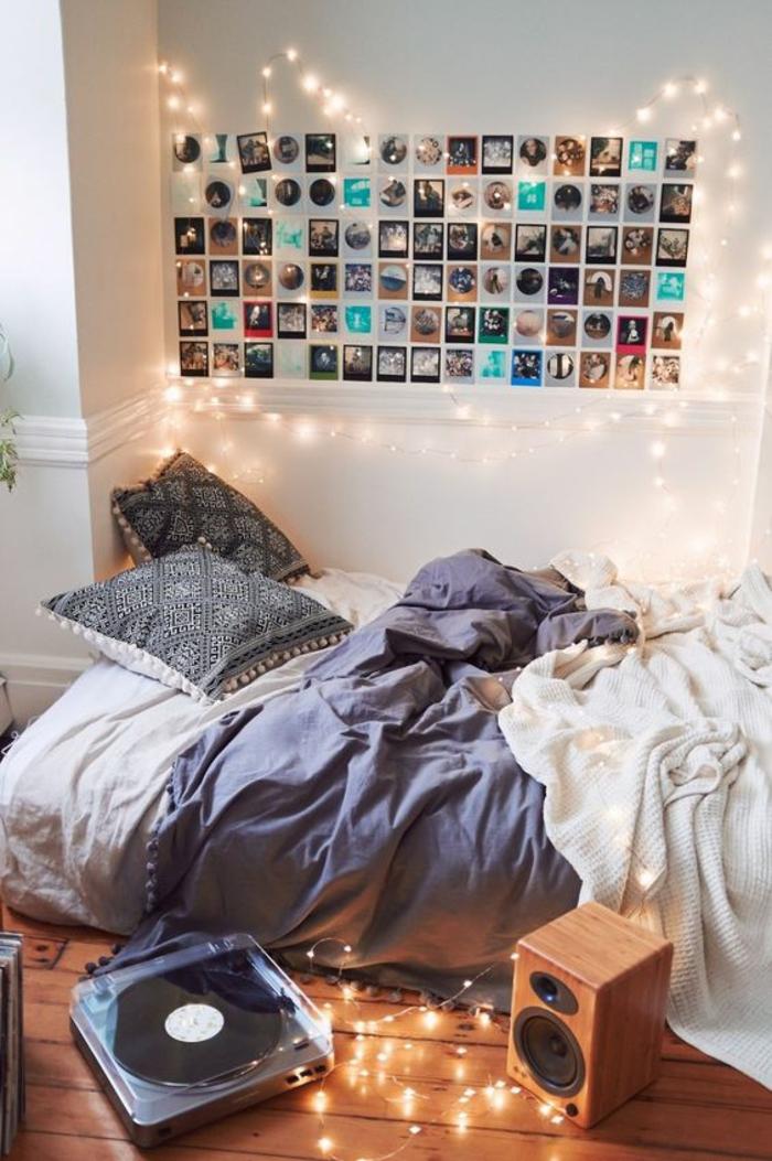 chambre-d'ado-esprit-boho-chic-déco-murale-avec-photos-guirlande-lumineuse