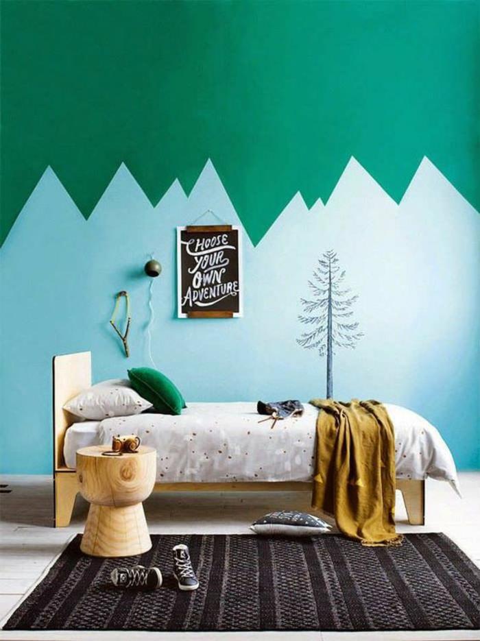 chambre-d'ado-garçon-espace-créatif-mur-original-vert-et-bleu