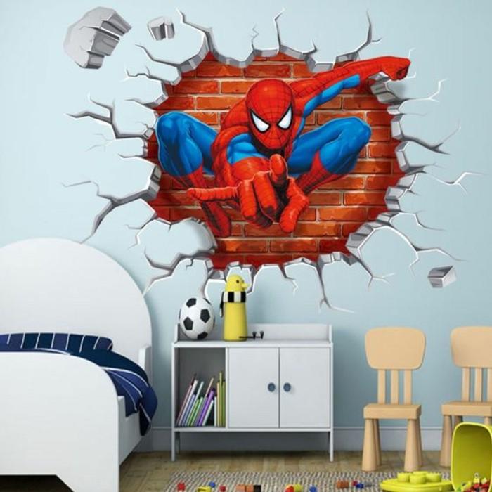 chambre-d'enfant-papier-peint-3d-effet-trompe-l'oeil-super-héro-