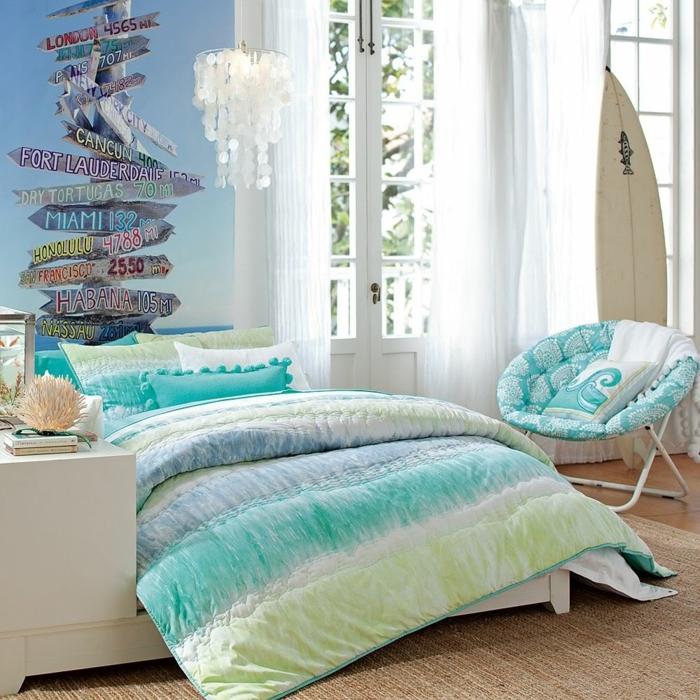 idée couleur chambre, chaise ronde, deco aquarium, couverture de lit couleurs de mer
