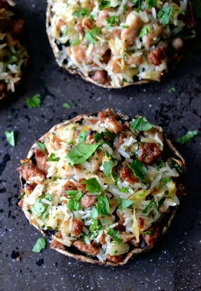 champignons-farcis-riz-et-viande-hâchée