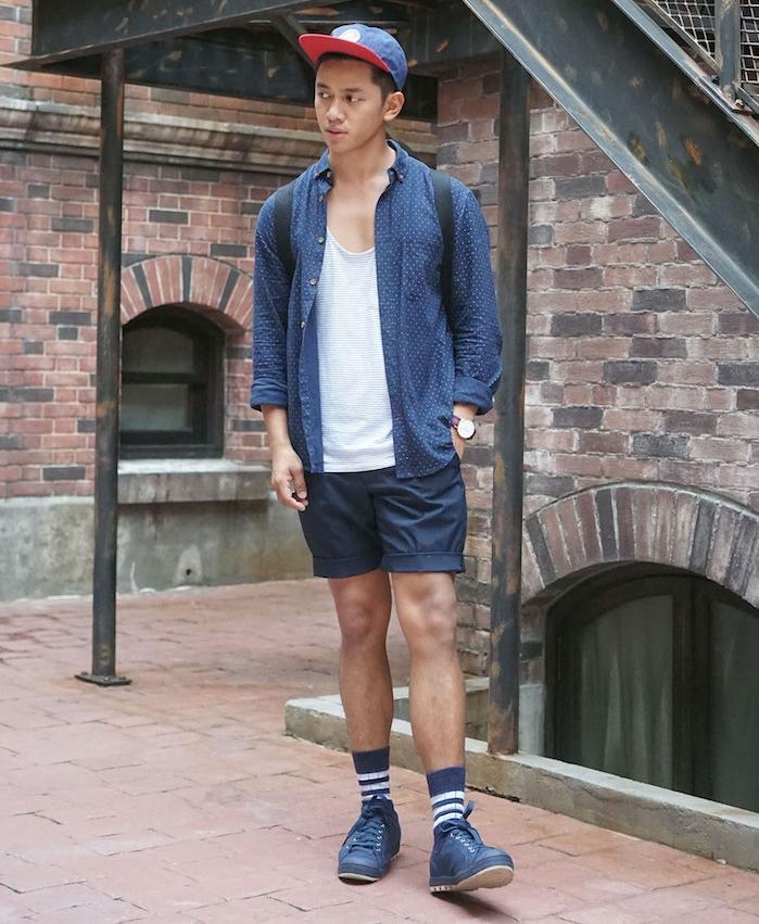 assortir ses chaussettes avec tenue bleue short