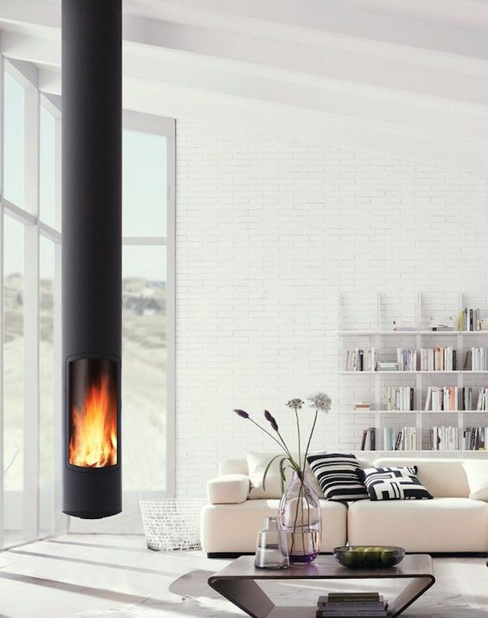 cheminée insert moderne suspendu foyer ouvert moderne metal noir