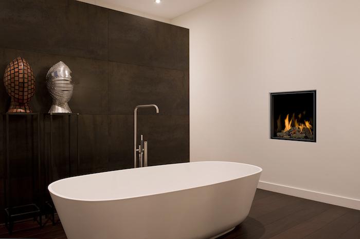 cheminée salle de bain incrustée insert mural design moderne