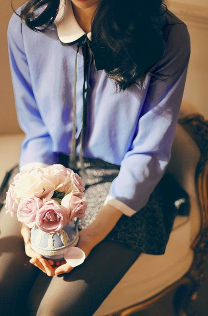 chemise-bleue-femme-col-claudine-noué
