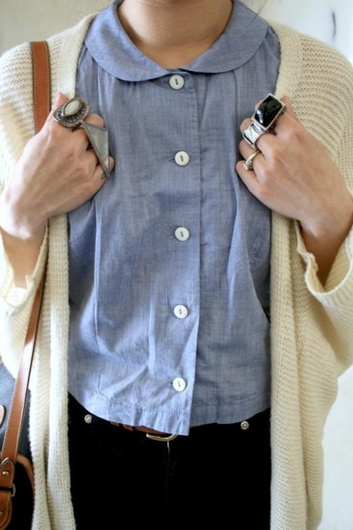 chemise-bleue-femme-effet-jean-col-claudine-cardigan-gros-anneaux