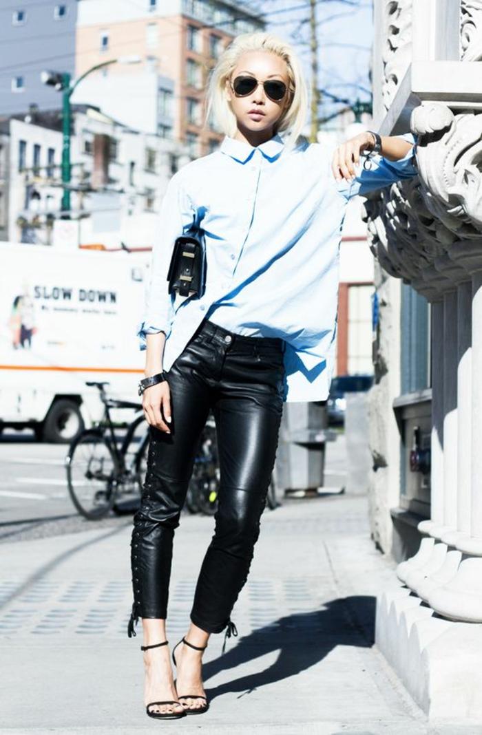 chemise-bleue-panatlon-simili-cuir-femme-sandales-à-talons