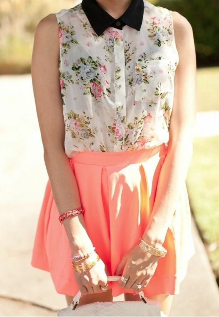chemisette-femme-florale-col-claudine-noir-tenue-d'été