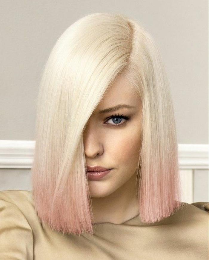 comment adopter le blond polaire, une coupe carré très élégante et un tie and dye couleur rose pastel