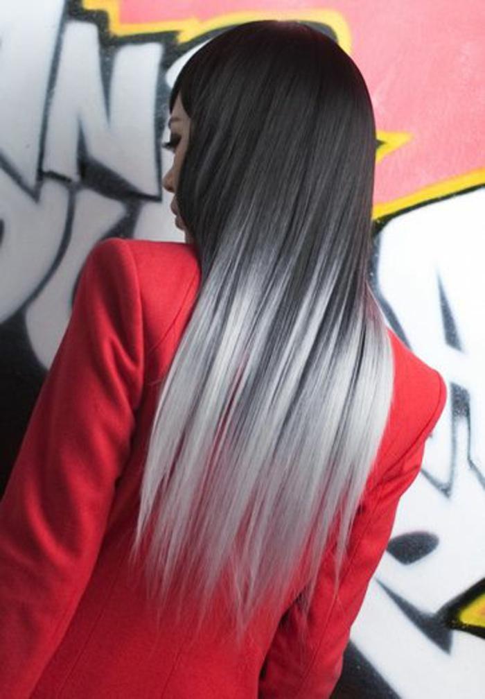 une coloration tie and dye pour une allure rock, coloration gris argenté