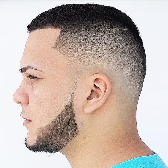 coupe de cheveux ado homme degrade court avec barbe fine