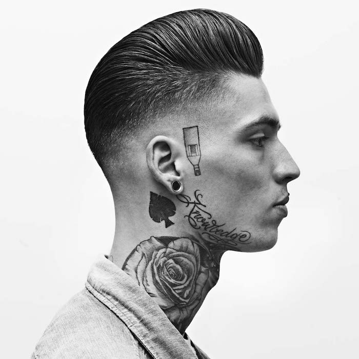 coiffure rockabilly style année 50 homme avec dégradé américain