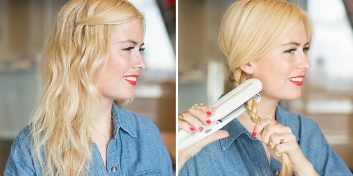 comment-friser-ses-cheveux-manucure-levres-rouge-chemise-en-denim-tresse