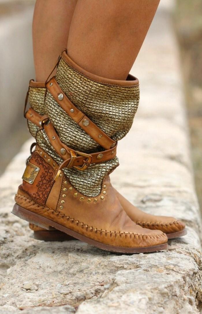 tenue avec bottines, modèle style bohème, bottines marron à studs