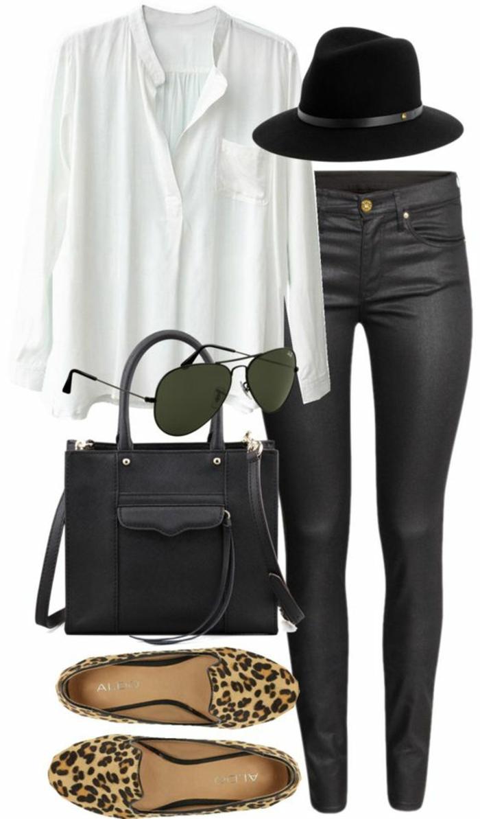 comment-porter-le-legging-cuir-ballerines-chemise-blanche