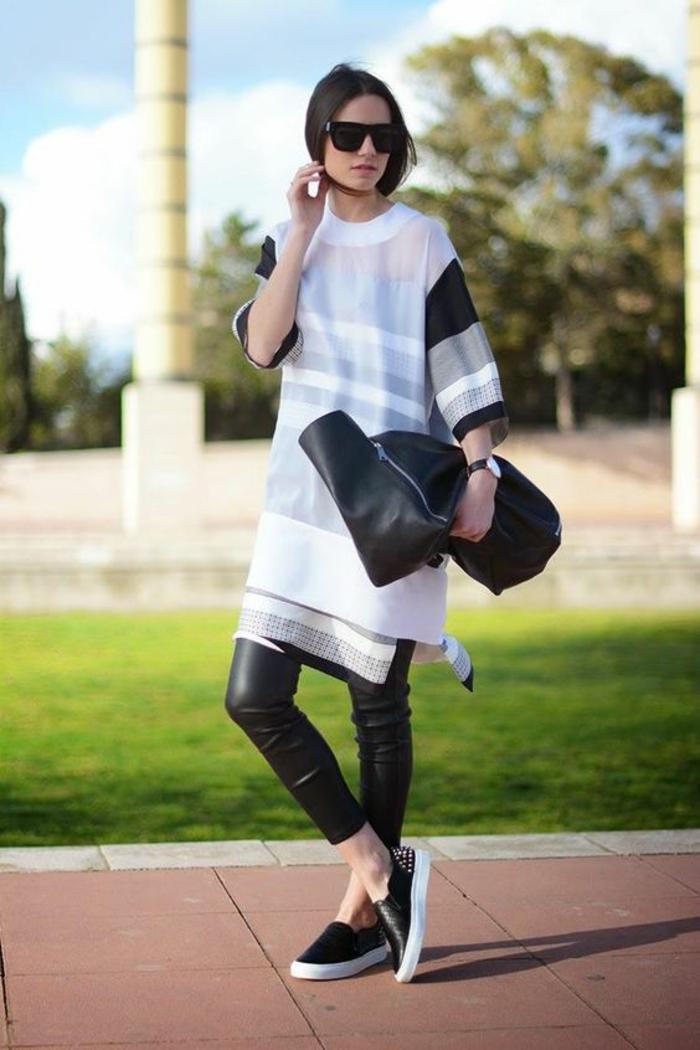 comment-porter-le-legging-en-cuir-blouse-oversize