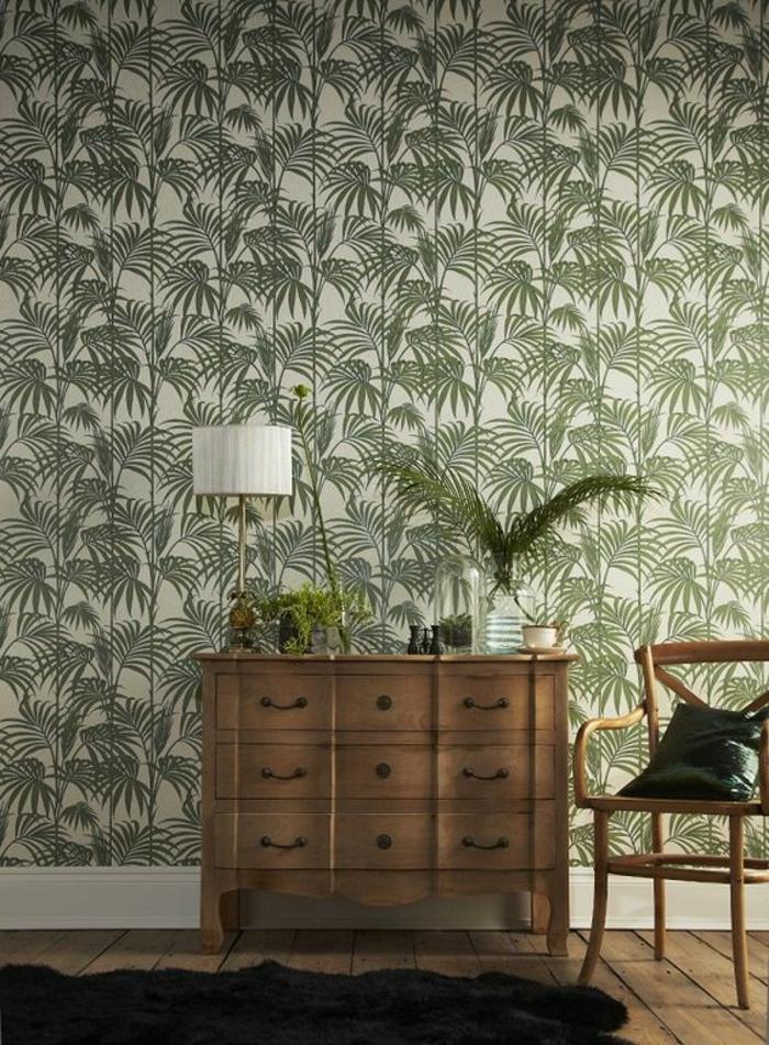 commode-vintage-parquet-en-bois-papier-peint