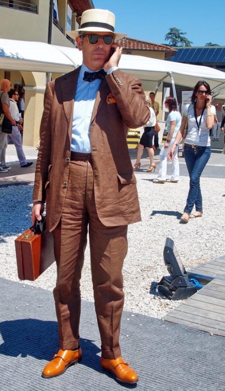 ensemble veste pantalon homme en lin marron costume été