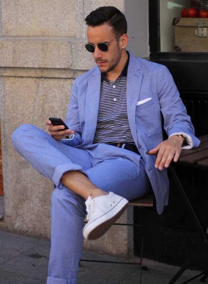 ensemble costume en lin violet pour homme couleurs été