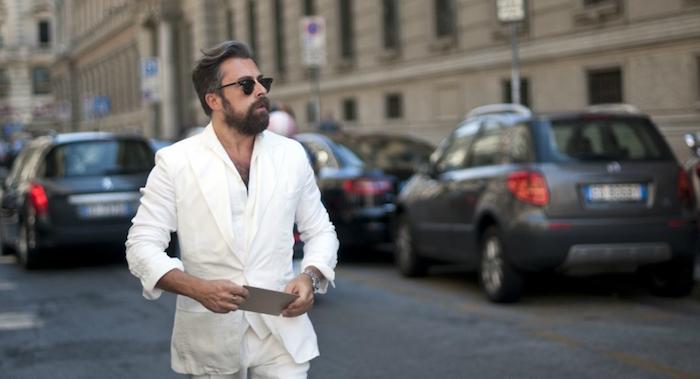 ensemble en lin blanc style costume d'été