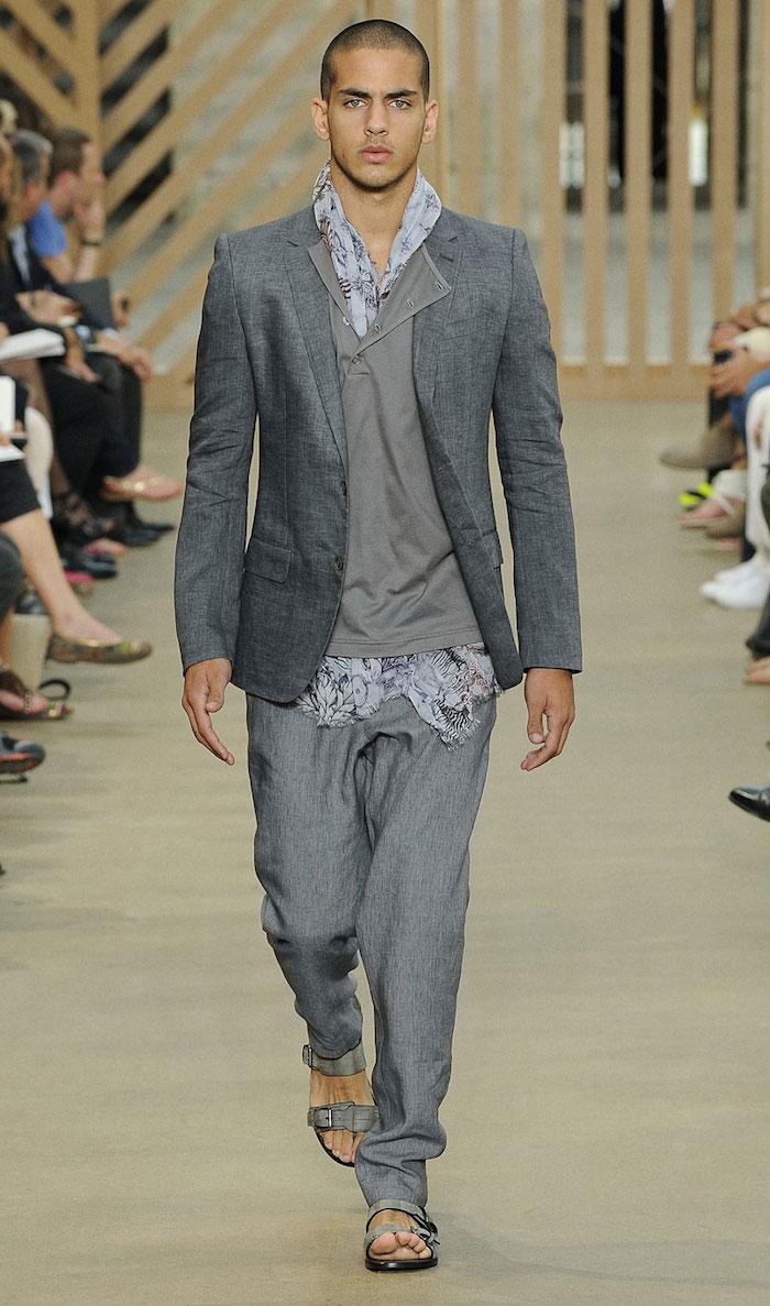 ensemble lin homme gris chiné style costume été