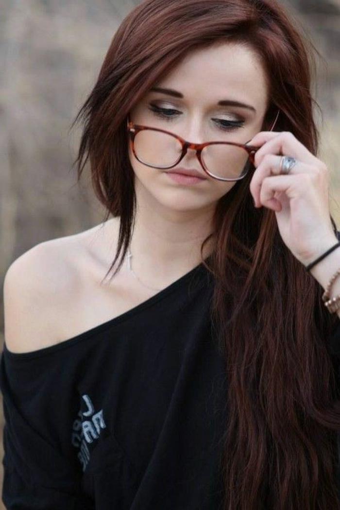 coloration auburn, cheveux couleur auburn et joli maquillage