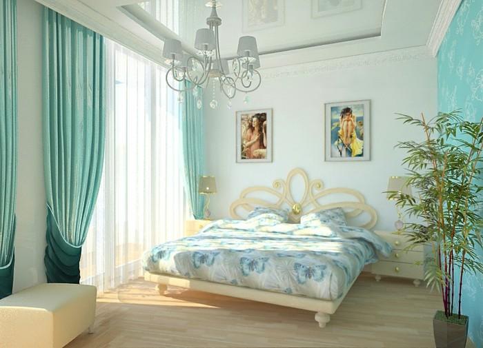 idée couleur chambre, parquet en bois claire, rideaux longs turquoise, lustre en cristaux