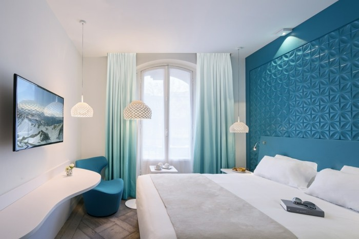 Chambre couleur aqua for Chambre turquoise