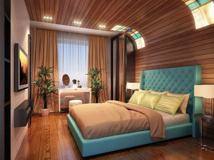 idée couleur chambre, murs en bois, tête de lit turquoise, rideaux longs marron