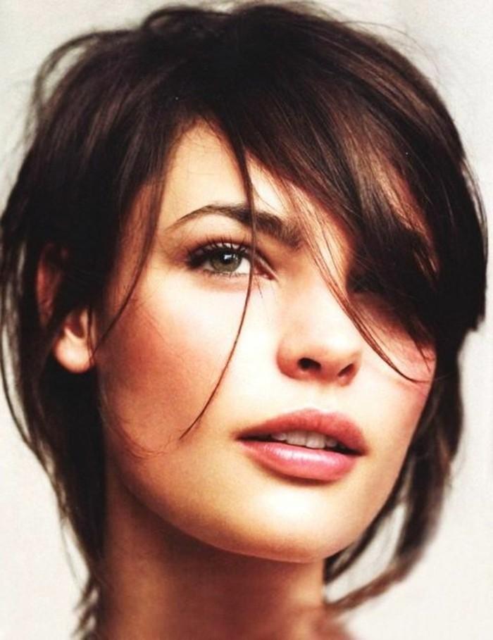 coupe frange, coiffure courte cheveux chatains