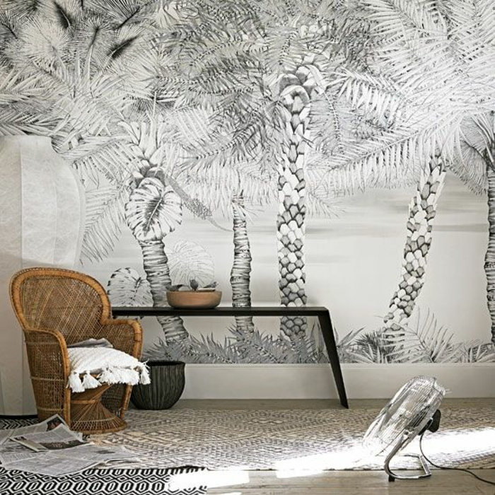 déco-blanc-et-gris-fauteuil-en-rotin-papier-peint-palmier
