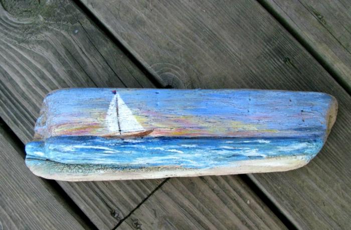 déco bois flotté, objet artistique à thème marin