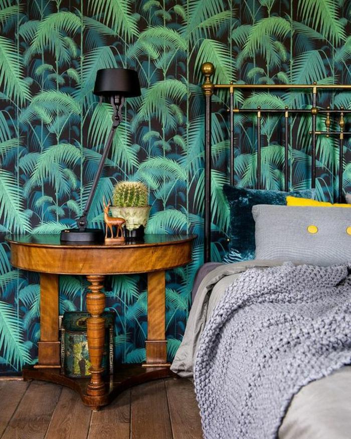 déco-chambre-à-coucher-moderne-papier-peint-palmier