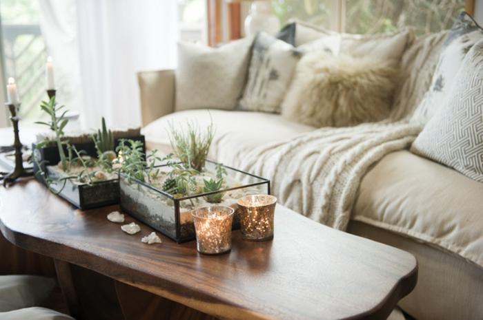 amenagement salon, table en bois, canapé taupe, coussins en fausse fourrure, plantes vertes