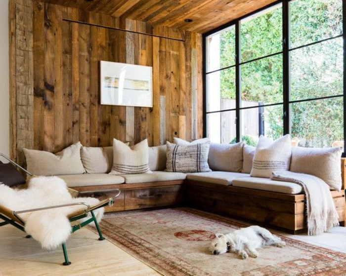1001 designs magiques pour cr er un salon cocooning - Mur en bois interieur ...