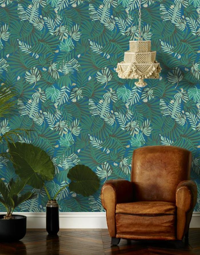 déco-d'intérieur-salon-papier-peint-murale-motif-palmier