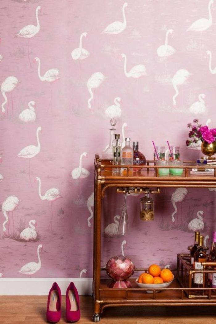 déco-rose-papier-peint-decoratif-flamant-rose